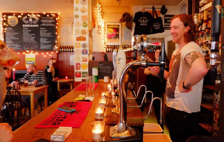 Barman at the geese pub in hanover brighton