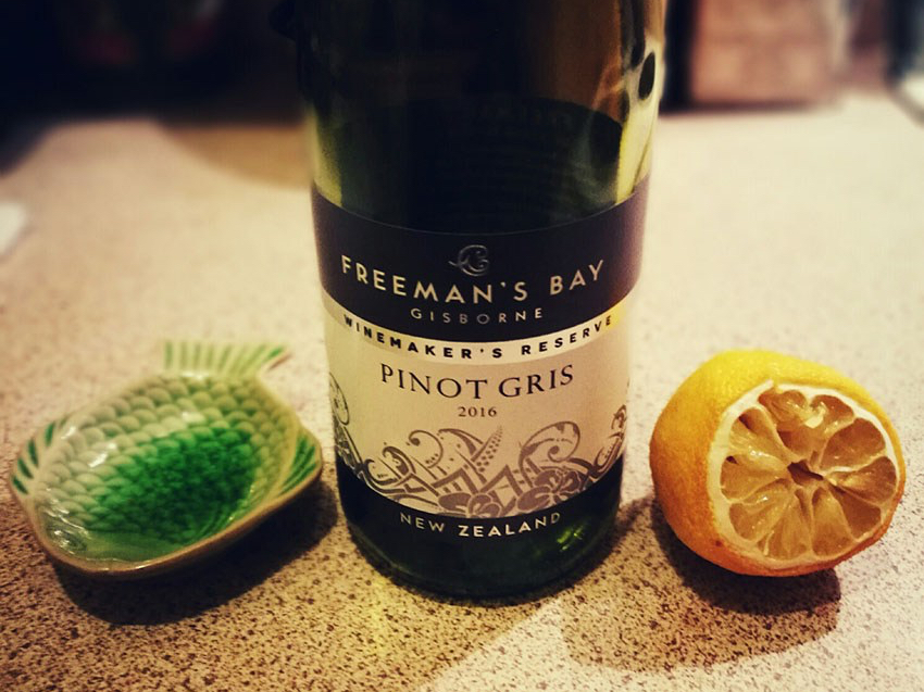 Close-up of Aldi Freemans Bay Pinot Gris